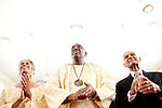 Reverend Dr. Gerald L Durley preaches health to his congregation. His congregation honored him during the service August 15, 2010 in celebration of Rev. Dr. Durley's 23rd pastoral anniversary at Providence Missionary Baptist Church. He stands, center, with his wife Muriel and the esteemed Reverend C.T. vivian, who spoke in Rev. Durley's honor at the anniversary service.