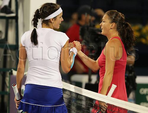25 02 2012  Dubai UAE.  Championships 2012 WTA Tennis Tournament International Series Dubai Tennis stadium, UAE. Final l r Juliet Goerges ger congratulates the Winner Agnieszka Radwanska POL