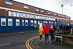 Stockport County sign at Edgeley Park. Stockport County v Barnet, 07032020. Edgeley Park, National League. Photo by Paul Thompson.