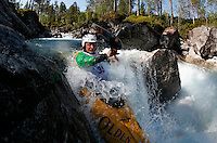 Benjamin Hjort (Norway). Kayak downhill race in the Brandseth river. <br />