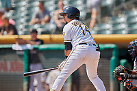 Jose Briceno (14) of the Salt Lake Bees bats against the Fresno Grizzlies at Smith's Ballpark on September 4, 2017 in Salt Lake City, Utah. Fresno defeated Salt Lake 9-7. (Stephen Smith/Four Seam Images)
