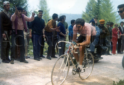 05.06.1970 Eddy Merckx (Belgium / Faemino) as Spectators watch him at the Giro D Italia 1970 19th Stage Rocca Pietore Dobbiaco
