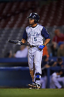 Brooklyn Cyclones outfielder Desmond Lindsay (5) at bat during the second game of a doubleheader against the Connecticut Tigers on September 2, 2015 at Senator Thomas J. Dodd Memorial Stadium in Norwich, Connecticut.  Connecticut defeated Brooklyn 2-1.  (Mike Janes/Four Seam Images)