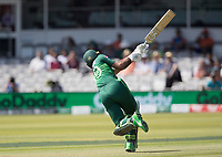 Fakhar Zaman (Pakistan) attempts to go big early and skews to wide long off during Pakistan vs Bangladesh, ICC World Cup Cricket at Lord's Cricket Ground on 5th July 2019