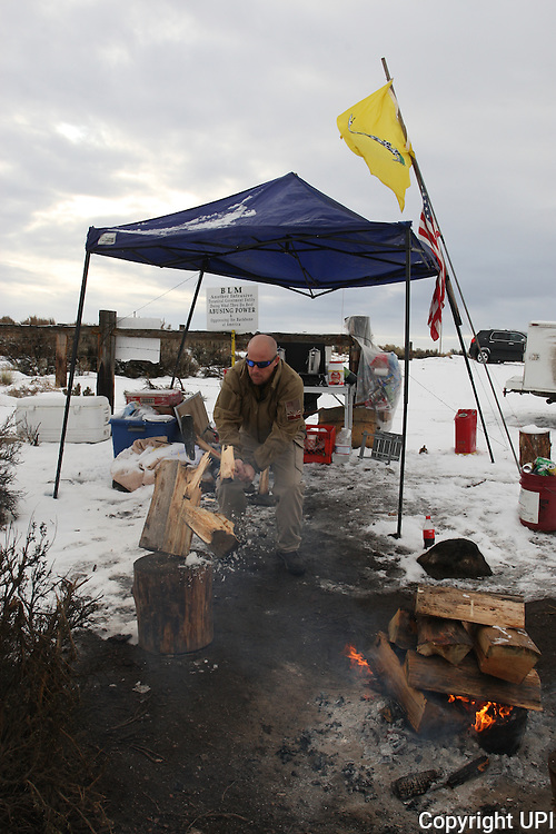 at the Malheur National Wildlife Reserve on January 16, 2016 in Burns, Oregon.  Ammon Bundy and about 20 other protesters took over the refuge on Jan. 2 after a rally to support the imprisoned local ranchers Dwight Hammond Jr., and his son, Steven Hammond.      Photo by Jim Bryant/UPI