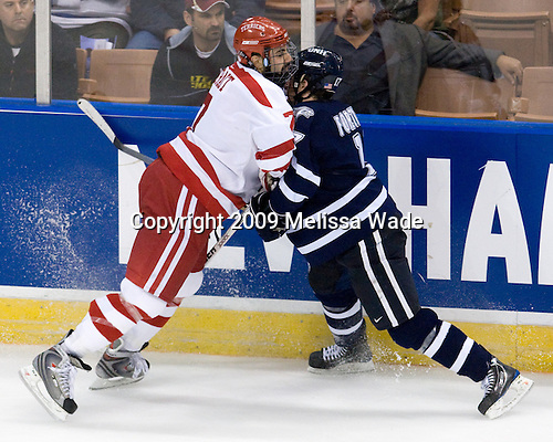 Brian Strait (Boston University - 7), Thomas Fortney (UNH - 17) - The Boston University Terriers defeated the University of New Hampshire Wildcats 2-1 on Sunday, March 29, 2009 in the NCAA Northeast Regional Final at the Verizon Wireless Arena in Manchester, New Hampshire.