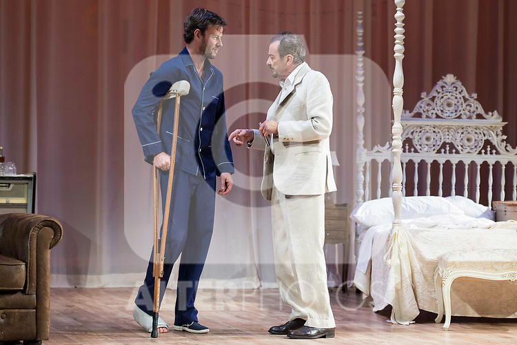 "Eloy Azorin and Juan Diego during theater play of ""Una gata sobre un tejado de Cinc caliente"" at Reina Victoria theater in Madrid, Spain. March 15, 2017. (ALTERPHOTOS/BorjaB.Hojas)"
