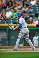 Doug Bernier (7) of the Round Rock Express at bat against the Salt Lake Bees in Pacific Coast League action at Smith's Ballpark on August 15, 2016 in Salt Lake City, Utah. Round Rock defeated Salt Lake 5-4.  (Stephen Smith/Four Seam Images)