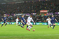 Luciano Narsingh of Swansea City makes space inside the Tottenham area during the Premier League match between Swansea City and Tottenham Hotspur at the Liberty Stadium, Swansea, Wales, UK. Tuesday 02 January 2018