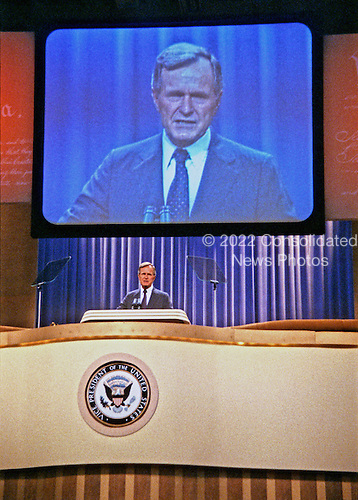 United States Vice President George H.W. Bush addresses the 1984 Republican Convention as he accepts their nomination for reelection as Vice President of the United States at the Reunion Arena in Dallas, Texas on August 23, 1984.<br /> Credit: Arnie Sachs / CNP