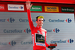 Simon Yates (GBR) Mitchelton-Scott retains the Red Jersey at the end of Stage 17 of the La Vuelta 2018, running 186.1km from Ejea de los Caballeros to Lleida, Spain. 13th September 2018.                   <br /> Picture: Unipublic/Photogomezsport | Cyclefile<br /> <br /> <br /> All photos usage must carry mandatory copyright credit (&copy; Cyclefile | Unipublic/Photogomezsport)