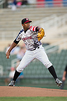 Kannapolis Intimidators starting pitcher Yosmer Solorzano (18) in action against the Hickory Crawdads at Kannapolis Intimidators Stadium on April 21, 2017 in Kannapolis, North Carolina.  (Brian Westerholt/Four Seam Images)