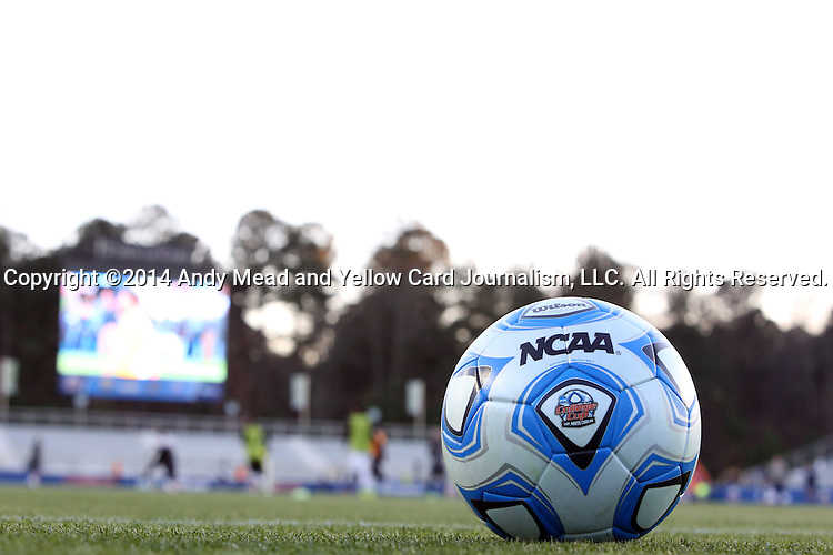 12 December 2014: The University of Virginia Cavaliers played the University of Maryland Baltimore County Retrievers at WakeMed Stadium in Cary, North Carolina in a 2014 NCAA Division I Men's College Cup semifinal match.