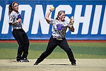 21 MAY 2016:  Second baseman Madeline Lee (12) of the University of North Alabama makes a play against Humboldt State University during the Division II Women's Softball Championship held at the Regency Athletic Complex on the Metro State University campus in Denver, CO.  North Alabama defeated Humboldt State 4-1 to win the national title.  Jamie Schwaberow/NCAA Photos