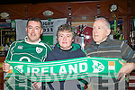..COLOURS: Cheering for Ireland in the Quarter final of the Rugby World Cup in Ders Sullivans The Mall Tavern, Tralee on Saturday morning l-r: Liam Heaslip, Margaret kelliher and Brendan Heaslip.