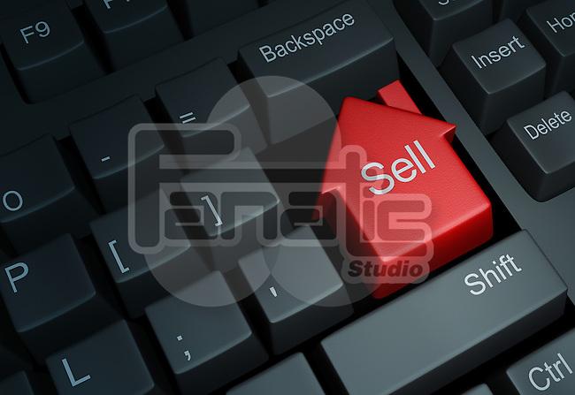 Illustrative image of keyboard with house button representing online property deal