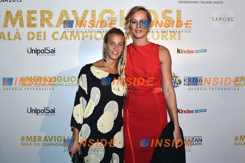 Tania Cagnotto, Federica Pellegrini <br /> Roma 28-09-2015 Via Veneto. Meravigliosi Gala' dei Campioni organizzato dalla FIN, Federazione Italiana Nuoto per festeggiare i successi dei Mondiali di Kazan 2015 . Party of the swimming italian federation. Foto Andrea Staccioli / Insidefoto