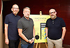 Peter Hook, Mike Pickering and Graeme Park reunited for a special event ahead of the release of the HACIENDA CLASSICAL album (on 21st Oct 2016) this month, and the airing of the HACIENDA HOUSE ORCHESTRA documentary on Channel 4.<br /> 13th October 2016 <br /> Central London, Great Britain <br /> <br /> Peter Hook is executive producer of HACIENDA CLASSICAL.  It takes the un-mistakeable sound of legendary Manchester club FAC 51 The Hacienda, and puts a symphonic spin on classics such as 'You've Got the Love' and 'Ride on Time'. The album follows unprecedented demand for live HACIENDA CLASSICAL shows, including a Royal Albert Hall concert which sold out in minutes<br /> <br /> Peter Hook<br /> Mike Pickering<br /> Graeme Park<br /> <br /> Photograph by Elliott Franks <br /> Image licensed to Elliott Franks Photography Services