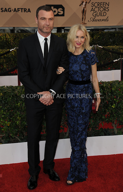 WWW.ACEPIXS.COM<br /> <br /> January 30 2016, LA<br /> <br /> Liev Schreiber and Naomi Watts arriving at the 22nd Annual Screen Actors Guild Awards at the Shrine Auditorium on January 30, 2016 in Los Angeles, California<br /> <br /> By Line: Peter West/ACE Pictures<br /> <br /> <br /> ACE Pictures, Inc.<br /> tel: 646 769 0430<br /> Email: info@acepixs.com<br /> www.acepixs.com