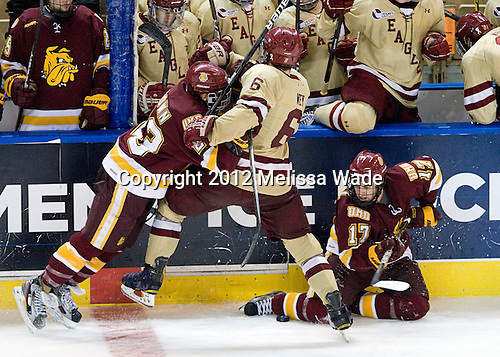 J.T. Brown (Duluth - 23), Patrick Wey (BC - 6), Mike Seidel (Duluth - 17) - The Boston College Eagles defeated the University of Minnesota Duluth Bulldogs 4-0 to win the NCAA Northeast Regional on Sunday, March 25, 2012, at the DCU Center in Worcester, Massachusetts.