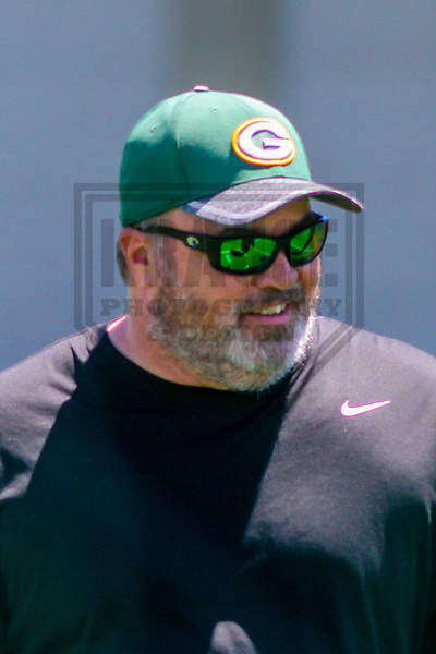 Green Bay Packers head coach Mike McCarthy during a minicamp practice on June 15, 2017 at Clarke Hinkle Field in Green Bay, Wisconsin.  (Brad Krause/Krause Sports Photography)