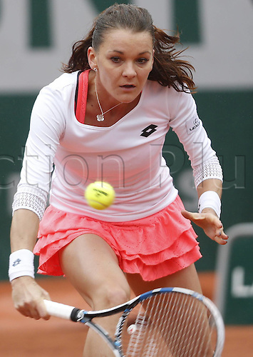 31.05.2016. Roland Garros, Paris, France. French Open tennis tournament.  Agnieszka Radwanska of Poland competes during the womens singles fourth round match against Tsvetana Pironkova of Bulgaria at the French Open tennis tournament at Roland Garrin Paris, France, May 31, 2016. The match was suspended due to rain but resumed with Pironkova winning in 3 sets