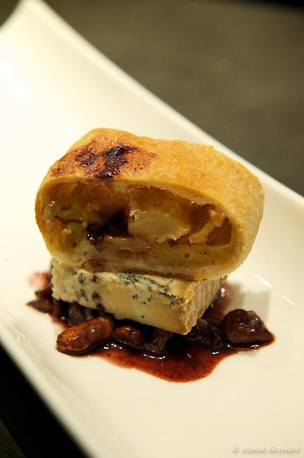 Chef Anthonny Rose, The Drake Hotel. Glengarry Celtic Blue Cheese withRed Wine Poached Black Walnut and Apple Strudel.