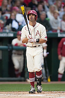 Arkansas Razorbacks outfielder Tyler Spoon (8) steps to the plate at Baum Stadium during the NCAA baseball game against the Alabama Crimson Tide on March 21, 2014 in Fayetteville, Arkansas.  The Alabama Crimson Tide defeated the Arkansas Razorbacks 17-9.  (William Purnell/Four Seam Images)