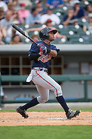 Mallex Smith (8) of the Gwinnett Braves follows through on his swing against the Charlotte Knights at BB&T BallPark on July 3, 2015 in Charlotte, North Carolina.  The Braves defeated the Knights 11-4 in game one of a day-night double header.  (Brian Westerholt/Four Seam Images)