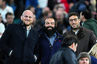 Matt Garvey, Kane Palma-Newport and Matt Banahan of Bath Rugby pose for a photo from the stands. The Rugby Championship match between Argentina and Australia on October 8, 2016 at Twickenham Stadium in London, England. Photo by: Patrick Khachfe / Onside Images