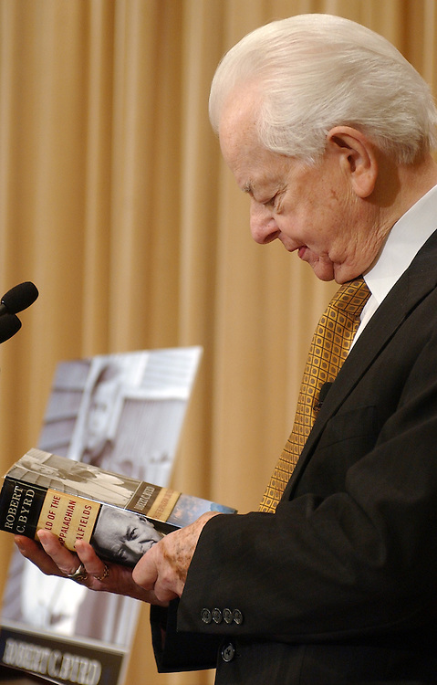 "Sen. Robert Byrd, D-W.V., prepares to read passages from his new book, "" Child of the Appalachian Coalfields,"" on the stage in the William G. McGowan Theater, at the National Archives."
