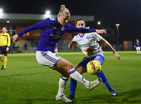 20180126 - OOSTAKKER , BELGIUM : Anderlecht's Ella Van Kerkhoven (left) pictured in a duel with Gent's Chloe Vande Velde (r)  during the quarter final of Belgian cup 2018 , a womensoccer game between KAA Gent Ladies and RSC Anderlecht , at the PGB stadion in Oostakker , friday 27 th January 2018 . PHOTO SPORTPIX.BE | DAVID CATRY