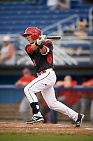 Batavia Muckdogs first baseman Tyler Curtis (11) at bat during a game against the Williamsport Crosscutters on August 3, 2017 at Dwyer Stadium in Batavia, New York.  Williamsport defeated Batavia 2-1.  (Mike Janes/Four Seam Images)
