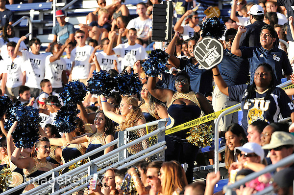 19 September 2015:  FIU fans cheer on the team in the first half as the FIU Golden Panthers defeated the North Carolina Central University Eagles, 39-14, at FIU Stadium in Miami, Florida.
