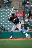 Charlotte Knights Danny Mendick (17) bats during an International League game against the Rochester Red Wings on June 16, 2019 at Frontier Field in Rochester, New York.  Rochester defeated Charlotte 11-5 in the first game of a doubleheader that was a continuation of a game postponed the day prior due to inclement weather.  (Mike Janes/Four Seam Images)