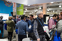 People gather in the URJ Central meeting area inside the vendor exhibition hall at the Union for Reform Judaism Biennial 2017 in the Hynes Convention Center in Boston, Mass., USA, on Wed., Dec. 6, 2017.