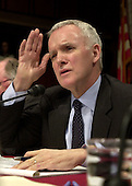 Washington, DC - April 8, 2004 -- Commissioner Bob Kerrey questions Doctor Condoleezza Rice, National Security Advisor, who testified before the 9/11 Commission in Washington, D.C. on April 8, 2004.<br /> Credit: Ron Sachs / CNP<br /> [RESTRICTION: No New York Metro or other Newspapers within a 75 mile radius of New York City]