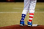 WATERBURY, CT-0712217JS13-- BC Cyclone starting pitcher Cameron Greczylo (27) had some patriotic themed socks on display during their Roberto Clemente Tournament game against Wolcott Saturday at Municipal Stadium in Waterbury. <br /> Jim Shannon Republican-American
