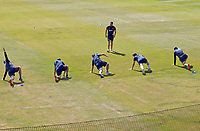 Harry McQueen of Essex leads the Essex team warm-up prior to Essex CCC vs Kent CCC, Bob Willis Trophy Cricket at The Cloudfm County Ground on 2nd August 2020