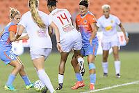 Houston, TX - Saturday July 30, 2016: Ellie Brush, Jessica McDonald, Amber Brooks during a regular season National Women's Soccer League (NWSL) match between the Houston Dash and the Western New York Flash at BBVA Compass Stadium.