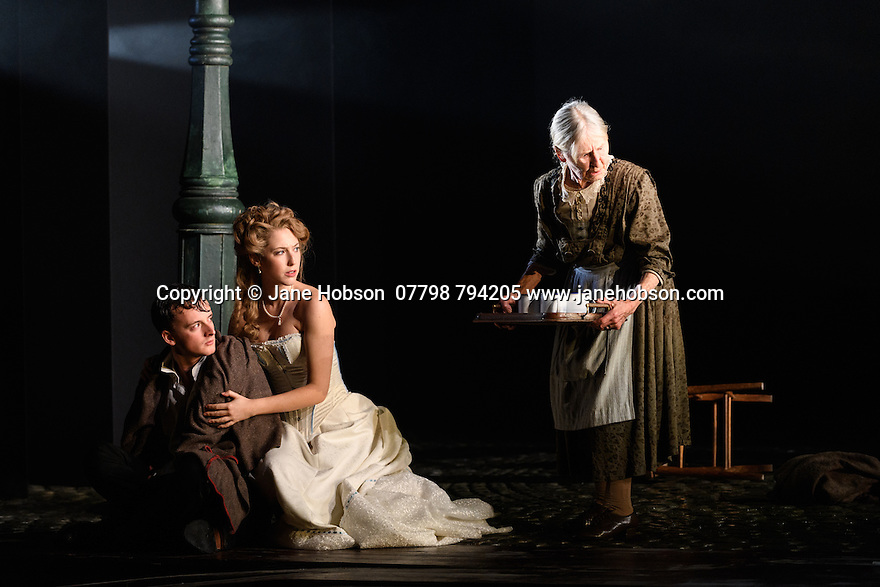 London, UK. 04.11.2016. AN INSPECTOR CALLS, by J B Priestley, opens at the Playhouse Theatre.  It is the 70th anniversary of the first UK staging of the play and the 25th anniversary of its first appearance at The National Theatre, directed by Stephen Daldry. Lighting design is again by Rick Fisher with set and costume design by Ian MacNeil. Picture shows: Hamish Riddle (Eric Birling), Carmela Corbett (Sheila Birling), Diana Payne-Myers (Edna). Photograph © Jane Hobson.