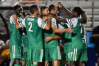 HEMPSTEAD - USA. 13-07-2016: Adam Moffat (segunto desde Der) jugador del New York Cosmos celebra con sus compañeros después de anotar el tercer gol de su equipo a Jacksonville Armada FC durante partido por la temporada de otoño 2016 de la North American Soccer League (NASL) jugado en el estadio James M. Shuart Stadium de la ciudad de Hempstead, NY./ Adam Moffat (seconf from R) player of New York Cosmos celebrates after scoring the third goal of his team to Jacksonville Armada FC during match for the fall season 2016 of the  North American Soccer League (NASL) played at James M. Shuart Stadium in Hempstead, NY. Photo: VizzorImage/ Gabriel Aponte / Staff