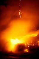 Hot molten lava flow from Kilauea volcano at Hawaii Volcanoes National park, Big island of Hawaii