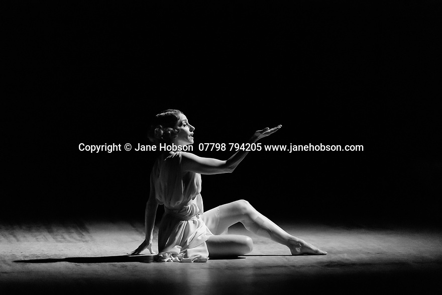 """London, UK. 20.02.20. The Barbican presents Viviana Durante Company, in the world premiere of """"Isadora Now"""", an evening paying tribute to feminist icon, Isadora Duncan, in the Barbican theatre. The piece shown is: FIVE BRAHMS WALTZES IN THE MANNER OF ISADORA DUNCAN, choreographed by Frederick Aston. The dancer is: Viviana Durante. Costume design is by David Dean. Photograph © Jane Hobson."""