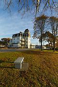 Glen Cove Hotel in Onset Village in Wareham, Massachusetts during the autumn months. Built in 1883, this is a Victorian style hotel located across the street from Onset Bay.