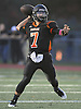 Scott Sasso #7, Babylon quarterback, throws a pass during a Suffolk County Division IV varsity football game against Glenn at Babylon High School on Friday, Oct. 21, 2016