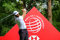 Dustin Johnson (USA) on the 9th tee during the 2nd round at the WGC HSBC Champions 2018, Sheshan Golf CLub, Shanghai, China. 26/10/2018.<br /> Picture Fran Caffrey / Golffile.ie<br /> <br /> All photo usage must carry mandatory copyright credit (&copy; Golffile | Fran Caffrey)