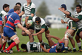 Manurewa halfback M. Niha goes to ground as he tries to break through a ruck.  Counties Manukau Premier Club Rugby, Ardmore Marist vs Manurewa played at Bruce Pulman Park, Papakura on the 10th of June 2006. Ardmore Maris won 18 - 11.