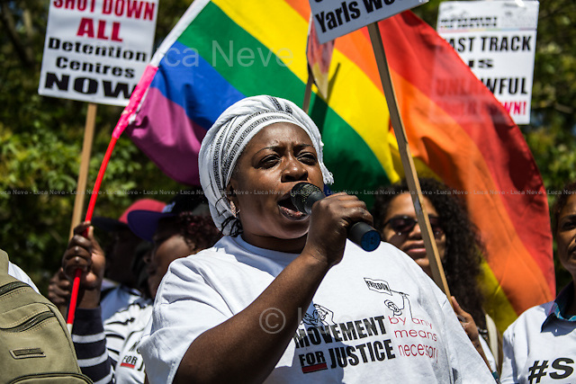 Maimuna Jawo (Former Yarl's Wood detainee). <br /> <br /> Bedford (Bedfordshire, England), 06/06/2015. Today, hundreds of protesters, activist and member of the public gathered outside the notorious Yarl's Wood I.R.C. Immigration Removal Centre in Bedfordshire, to protest against the alleged inhuman conditions of the detainees (showed in a recent Channel 4 undercover investigation - http://bit.ly/1E6X4pz) and to call for its immediate closure. &lt;&lt;Yarl's Wood Immigration Removal Centre is a detention centre for foreign nationals prior to their deportation from the United Kingdom, one of 13 such centres currently in the UK. It is located near Milton Ernest in Bedfordshire, England, and is operated by Serco (British outsourcing company based in Hook, Hampshire. It operates public and private transport and traffic control, aviation, military weapons, detention centres, prisons and schools on behalf of its customers &ndash; Source Wikipedia.com), who describe the place as &quot;a fully contained residential centre housing adult women and adult family groups awaiting immigration clearance.&quot; Its population is, and has been, overwhelmingly female. [&hellip;]&gt;&gt; (Source - Wikipedia.com at http://bit.ly/1GiTFWB).<br /> <br /> For more information please click here:  http://on.fb.me/1eWzNhL &amp; http://www.movementforjustice.org/
