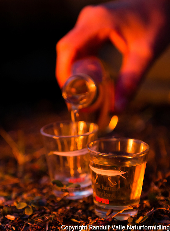 Akevitt skjenkes i glass i lyset fra bålet. ---- Aquavit filled in glasses.